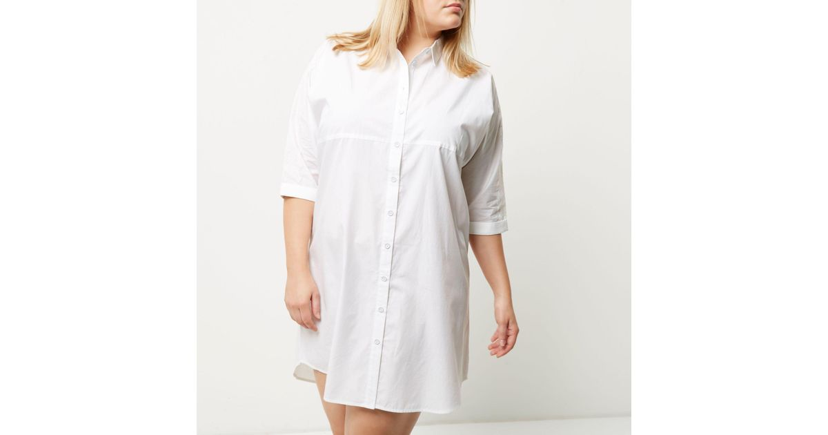 26160c4a5145e Lyst - River Island Plus White Oversized Shirt Dress in White