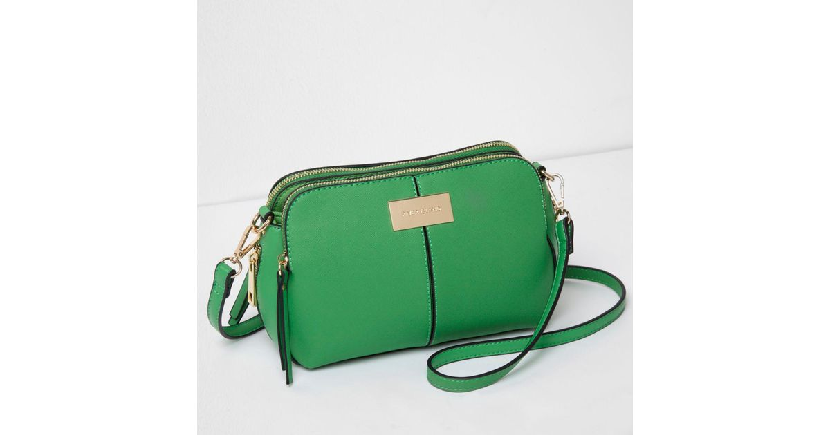 River Island Green Triple Compartment Cross Body Bag In Lyst