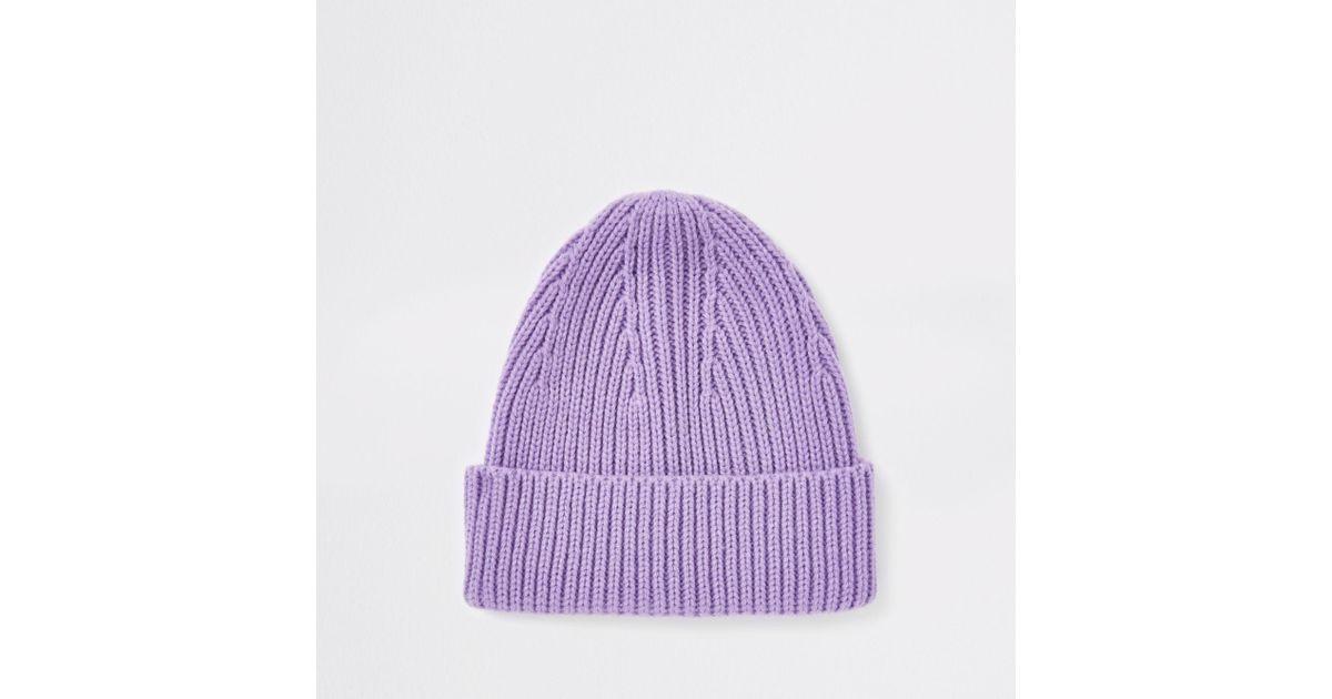 f6e9dda9685 Lyst - River Island Fisherman Beanie Hat in Purple for Men