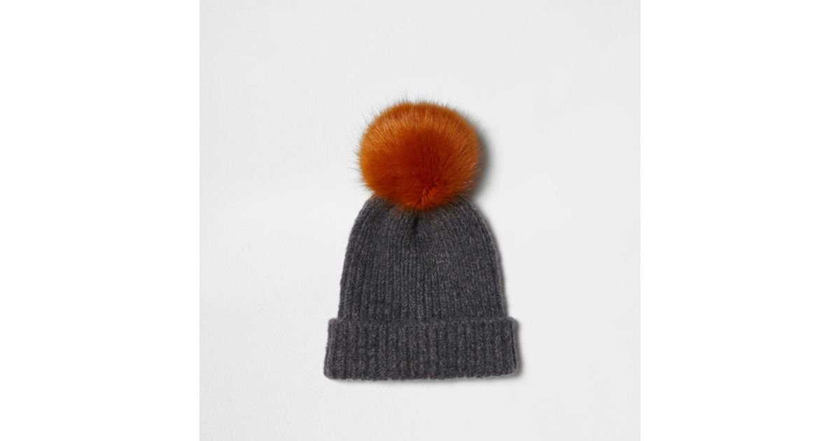b7ce36c0cb1 River Island Light Grey Pom Pom Beanie Hat Light Grey Pom Pom Beanie Hat in  Gray - Lyst