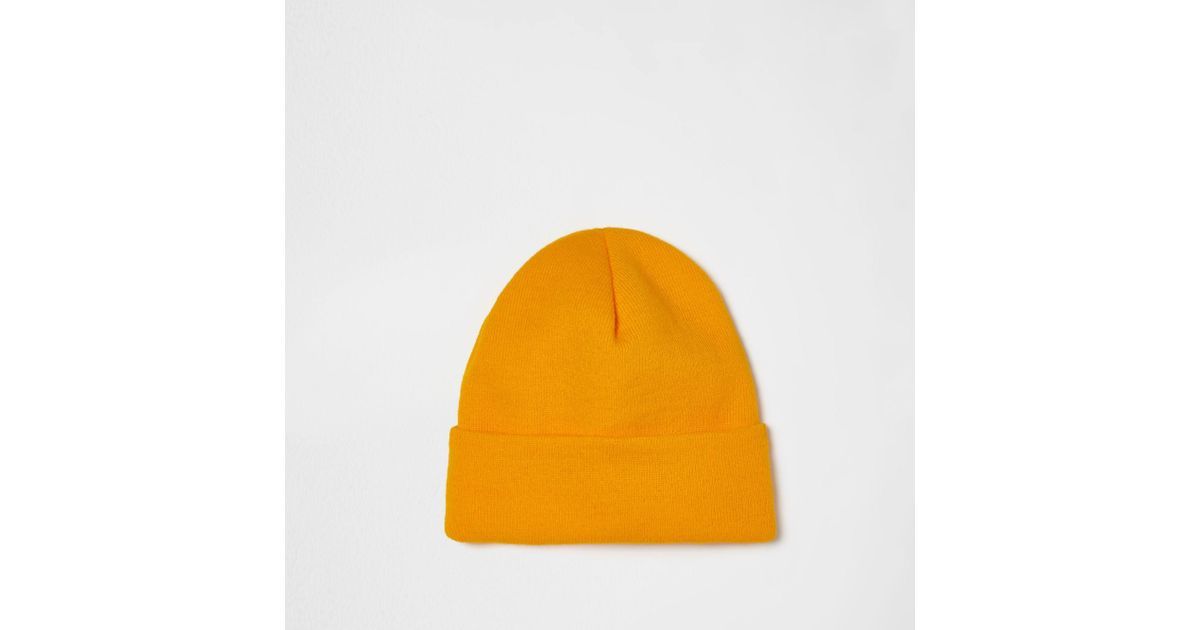 b2cf26fa59b Lyst - River Island Yellow Knitted Beanie Hat in Yellow for Men