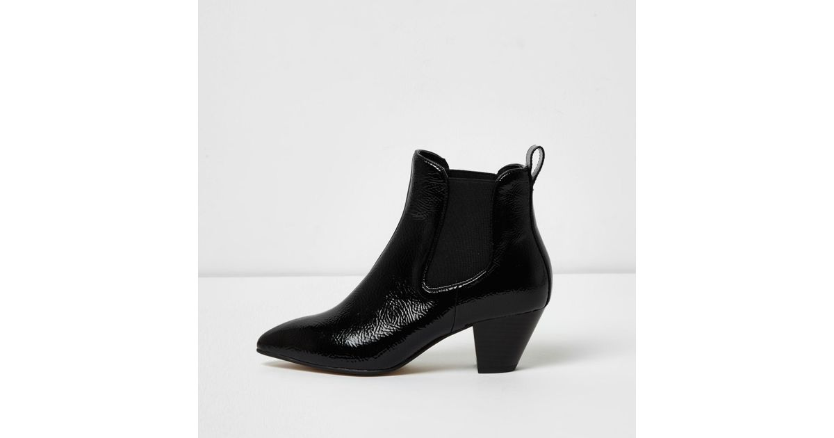 81b3a67aff1 River Island - Black Patent Western Ankle Boots - Lyst