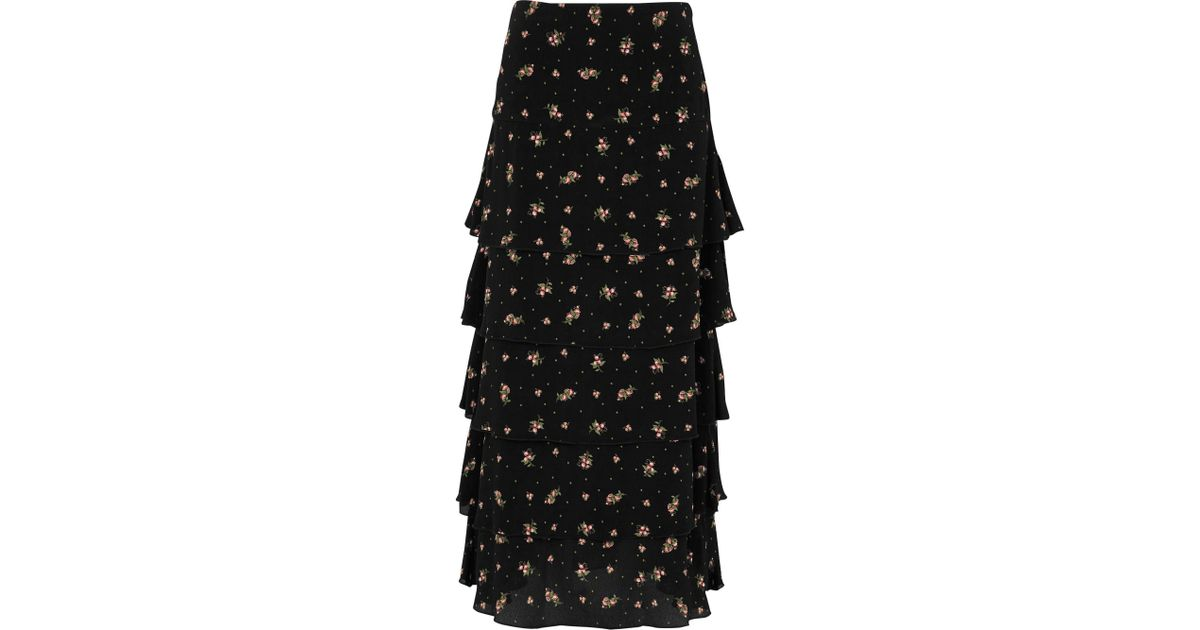 b112e4d3777 River Island Ditsy Floral Print Tiered Maxi Skirt in Black - Lyst