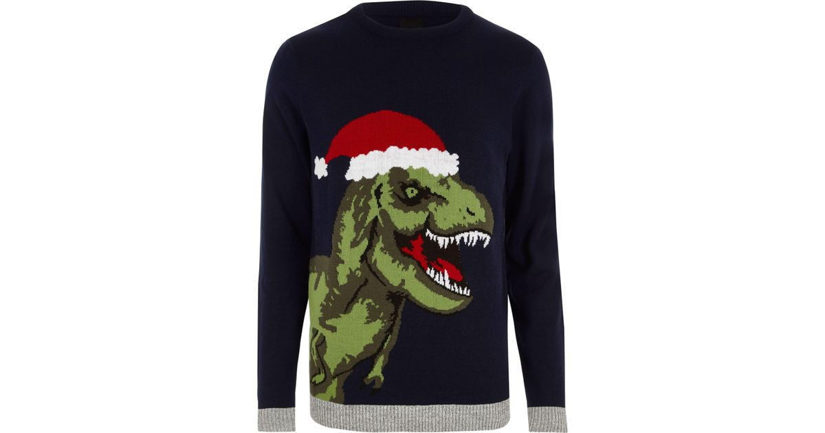 Lyst - River Island Navy T-rex Knit Christmas Sweater in Blue for Men