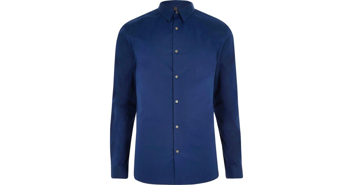 82a9a36345 Lyst - River Island Blue Micro Point Collar Muscle Fit Shirt in Blue for Men
