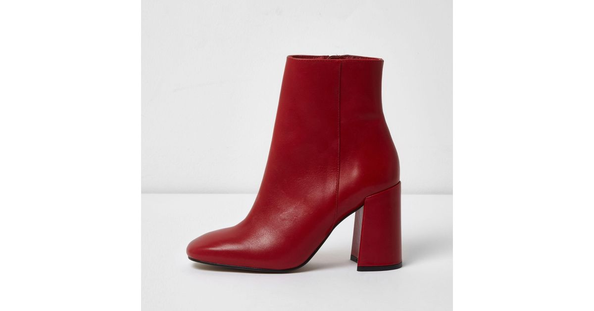 Lyst - River Island Red Leather Block Heel Ankle Boots in Red fcd941a03cb6