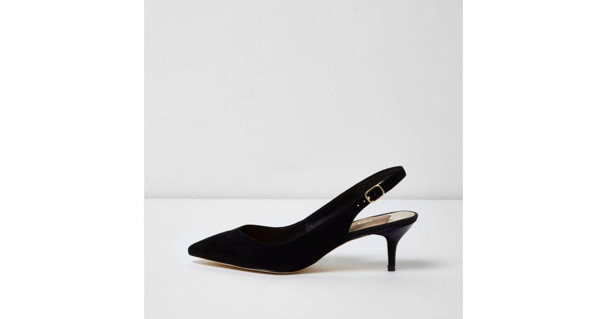 ec6367a1eefc River Island Black Sling Back Kitten Heel Court Shoes in Black - Lyst