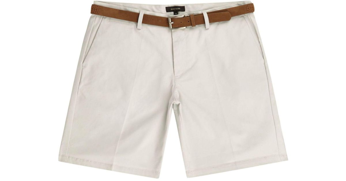 Mens Green belt detail slim fit shorts River Island