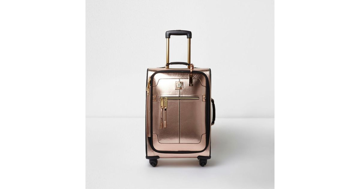 River Island Rose Gold Metallic Four Wheel Suitcase Lyst