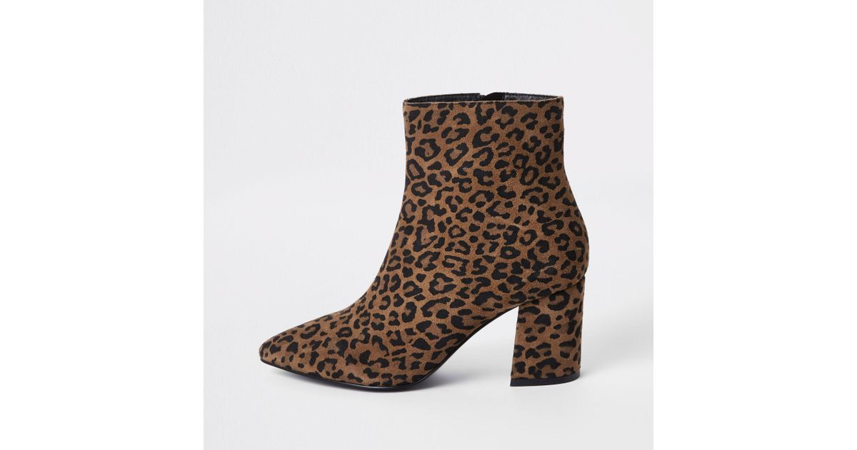 3e9d73e68aa7 Lyst - River Island Wide Fit Leopard Print Ankle Boots in Brown