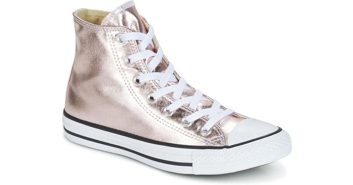 Converse Chuck Taylor All Star Metallic Canvas Hi Rose Quartz white black  Shoes (high-top Trainers) in Metallic - Lyst 980d4ca19