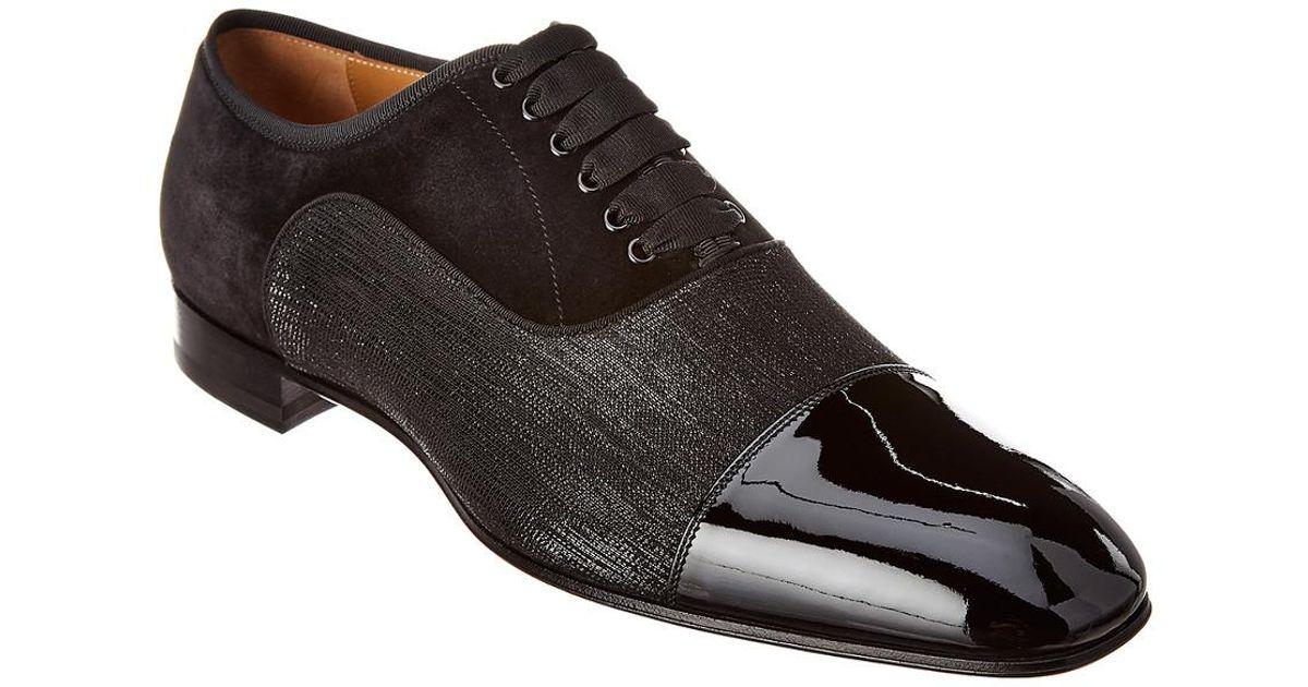 0696e29ae42f Lyst - Christian Louboutin Greggo Orlato Suede   Patent Oxford in Black for  Men