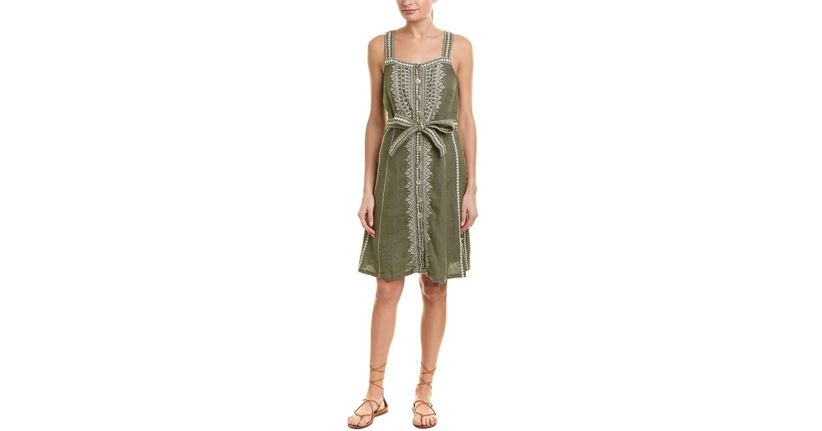 b73ec06ed68 Lyst - Johnny Was Linen Sundress in Green