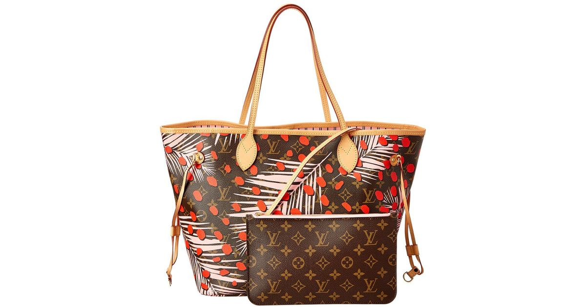 3b1b4643b43e1 Lyst - Louis Vuitton Limited Edition Red Jungle Dots Neverfull Mm Nm in Red