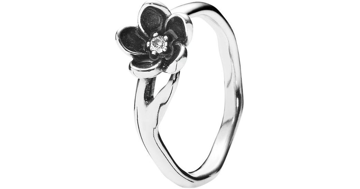 c7a078b40 PANDORA Mystic Floral Silver Cz Flower Ring in Metallic - Lyst