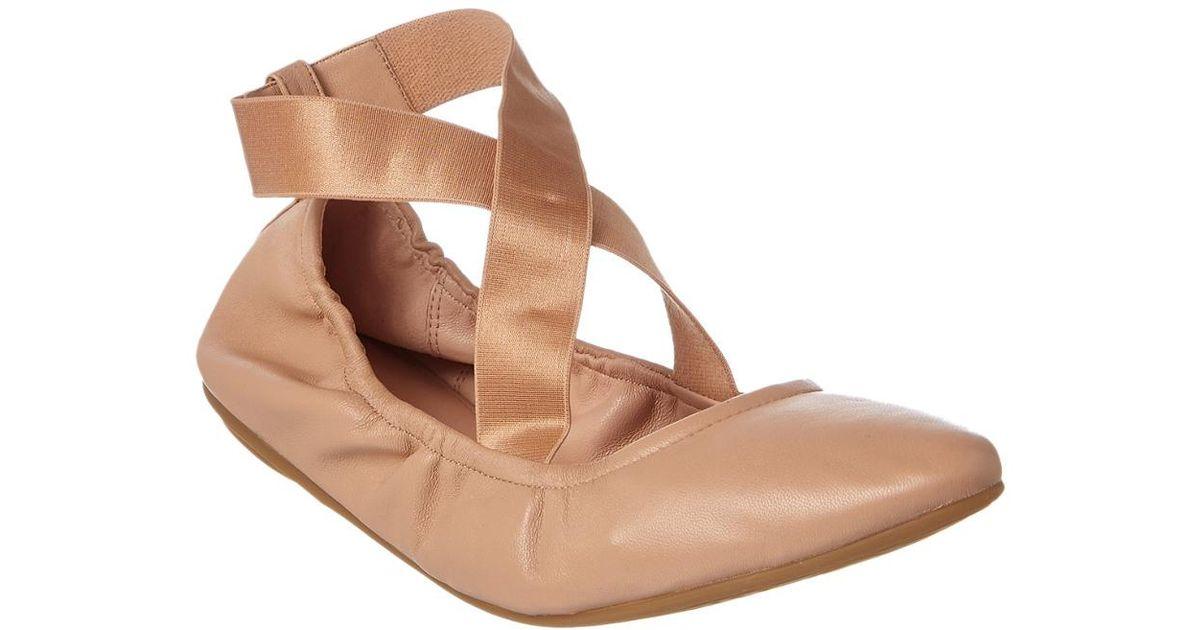 Taryn Rose Edina Leather Cross Over Strap Ballerina Flats Gp1IAi5