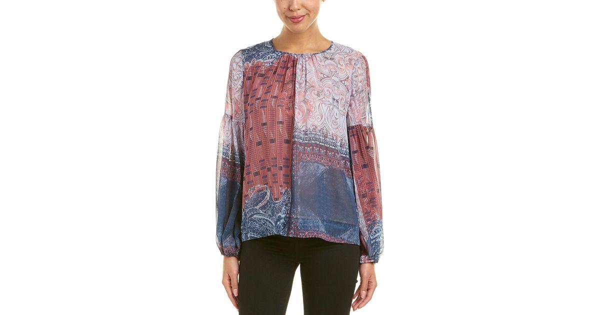 c47b5dd2f50fe Lyst - BCBGMAXAZRIA Bishop Sleeve Silk Blouse in Pink - Save 53%