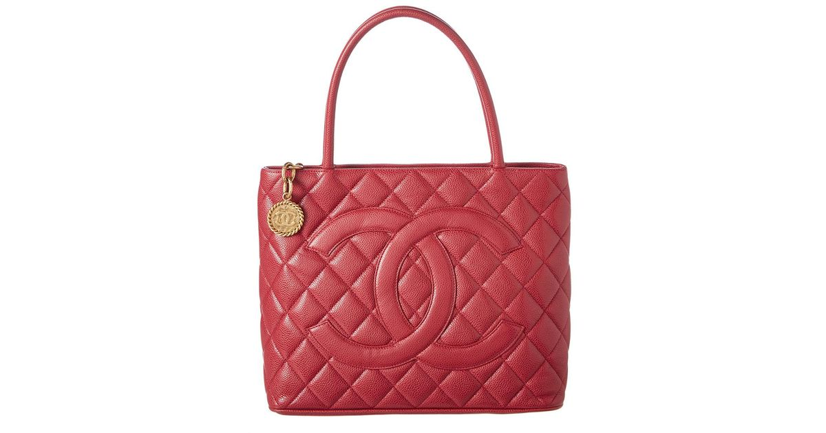 6ed794f82682 Lyst - Chanel Red Caviar Leather Medallion Tote in Red