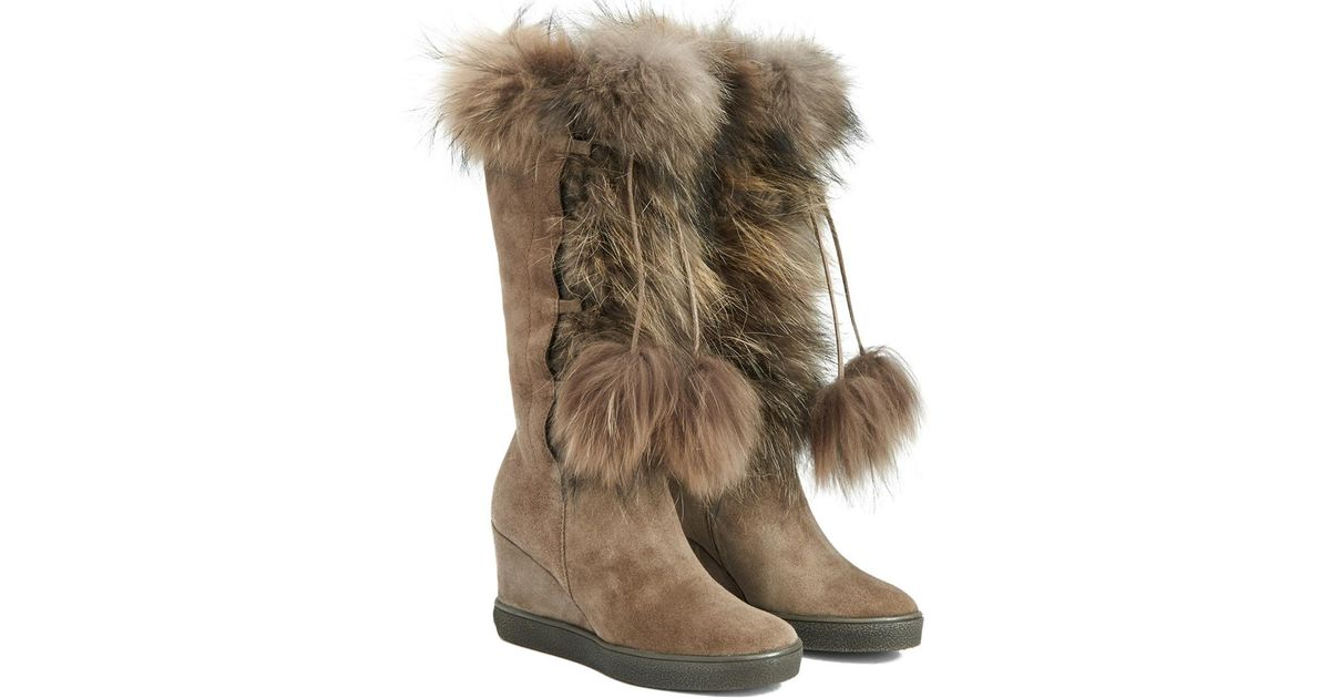 76bd605cb953 Aquatalia Colette Waterproof Suede And Fur Boot in Brown - Lyst