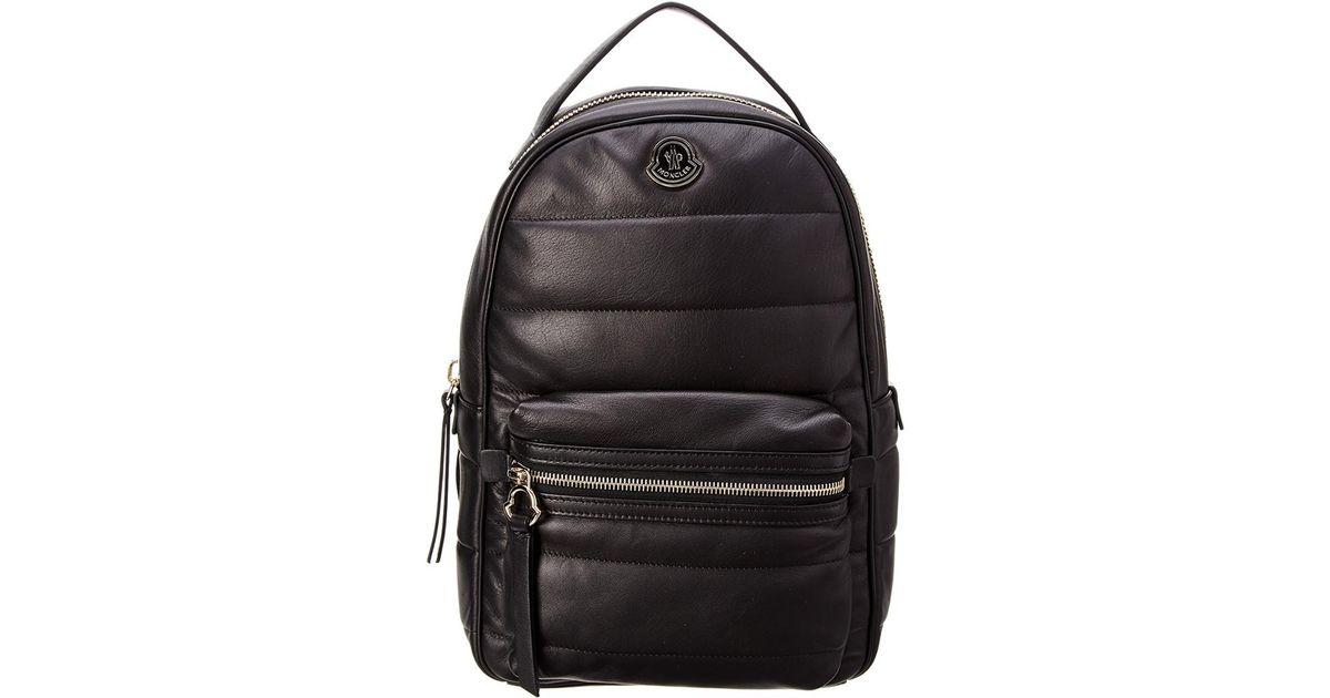 Moncler Black Georgette Leather Backpack Lyst