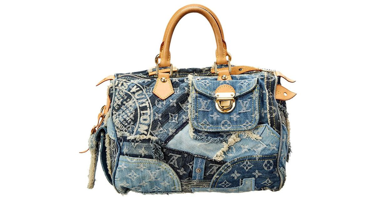 6ee5fa513e4a Louis Vuitton Limited Edition Blue Patchwork Denim Speedy 30 in Blue - Lyst