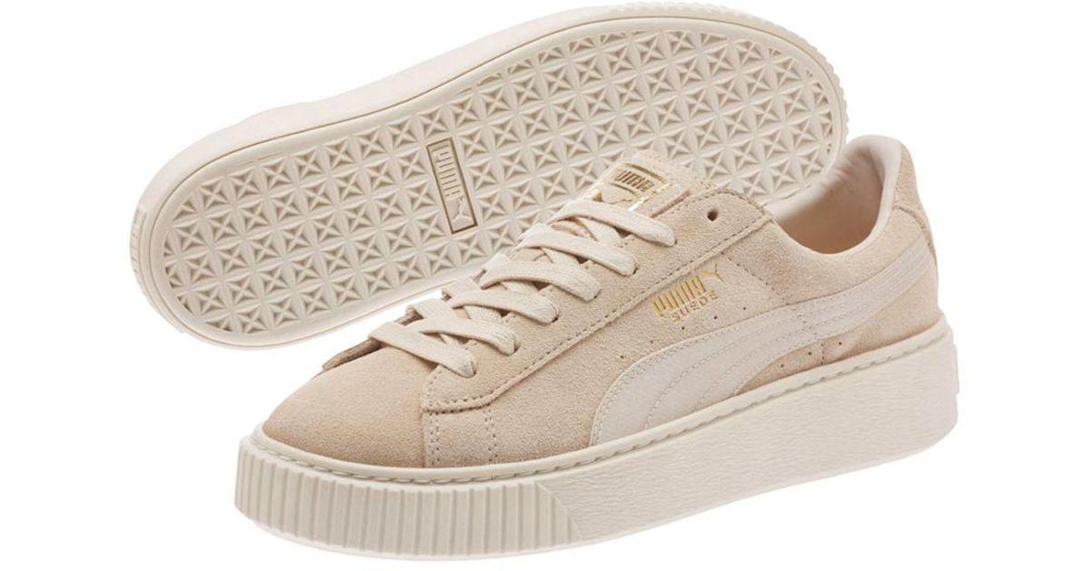 497d15831cb Lyst - Puma Women s Suede Platform Mono Satin Sneaker in Natural