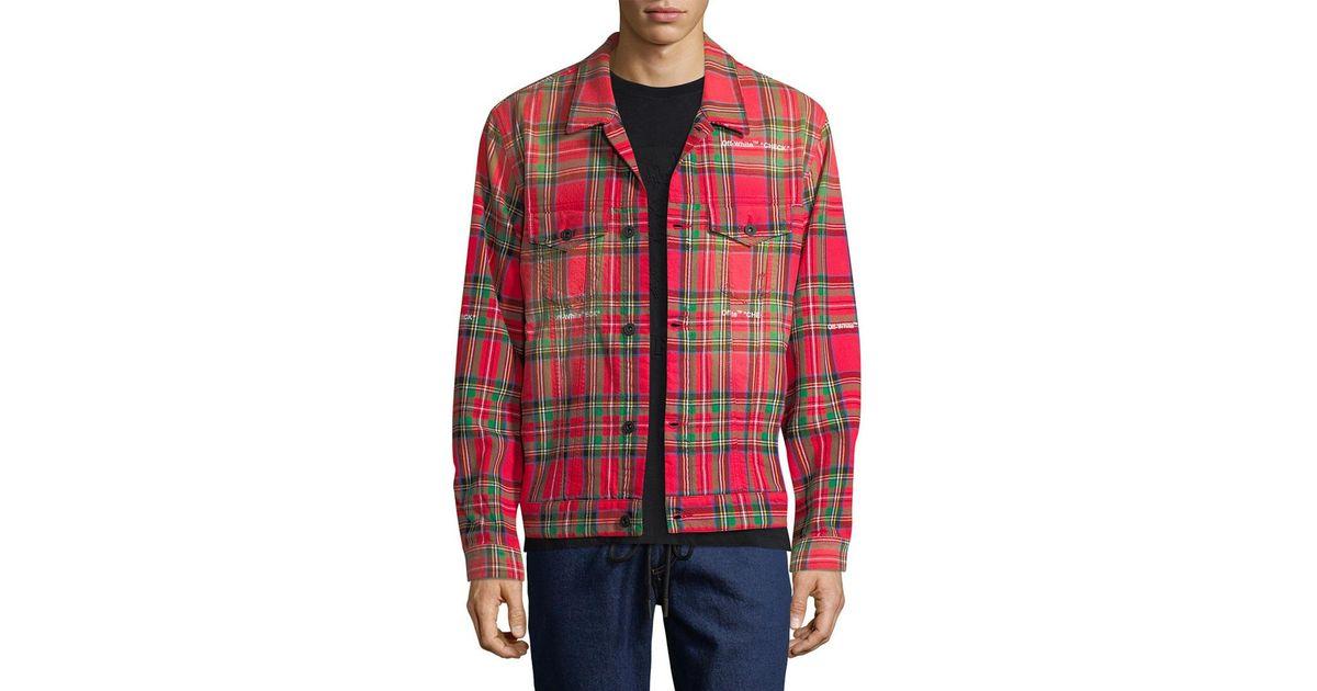 5186b4379aba Lyst - Off-White c o Virgil Abloh Off-white Tartan Print Trucker Jacket in  Red for Men - Save 26%