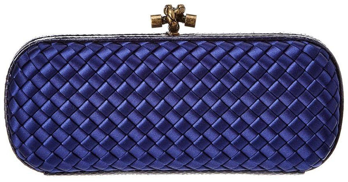 Lyst - Bottega Veneta Ayers Leather Knot Clutch in Blue 6001c017c9488