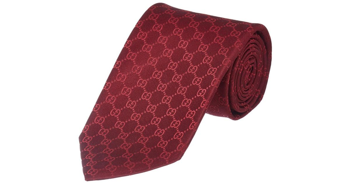 0e05cfd0f3ab Lyst - Gucci Red Gg Pattern Silk Tie in Red for Men