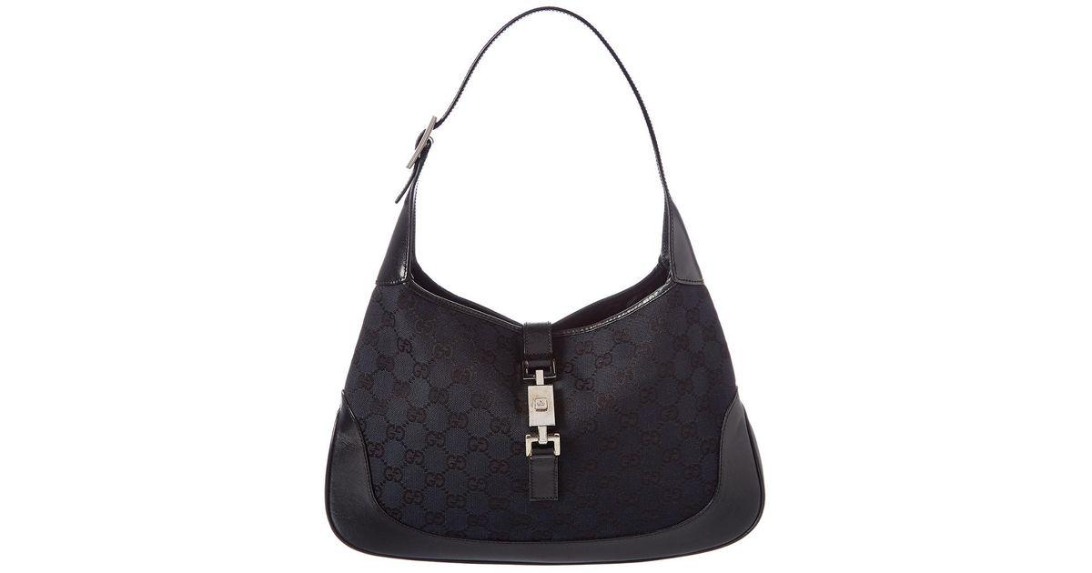 5dd7c645e5c0fc Lyst - Gucci Black GG Canvas & Leather Jackie Web Hobo in Black
