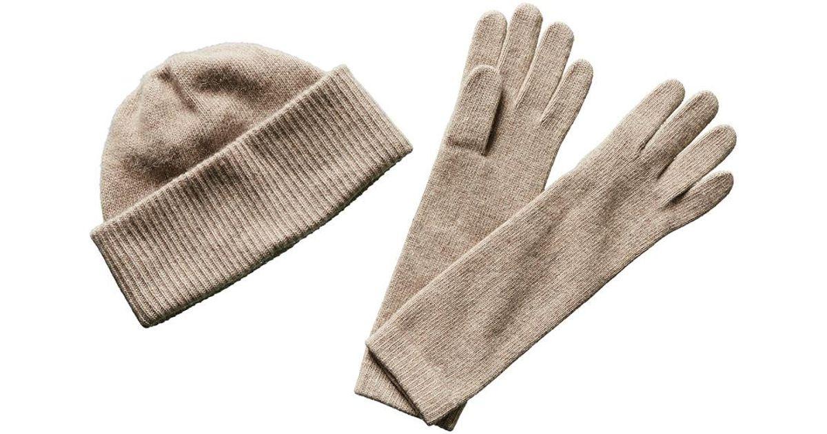 d0b6476b981 Lyst Portolano Cashmere Hat Gloves Set In Brown