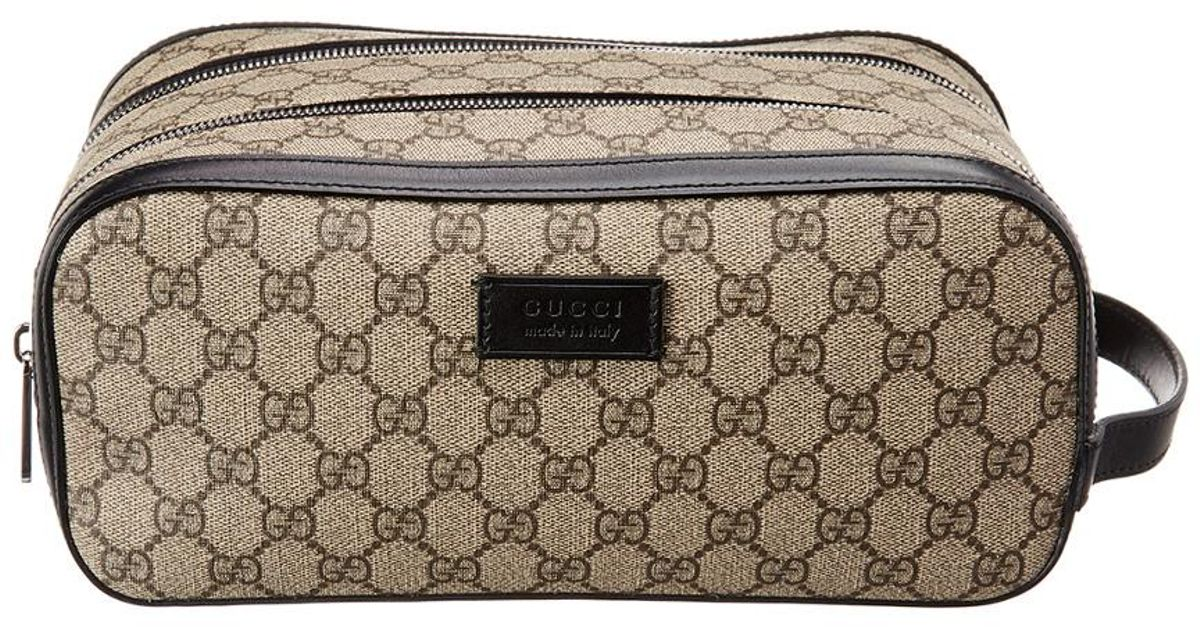 909350191910 Gucci GG Supreme Canvas & Leather Dopp Kit in Black for Men - Lyst