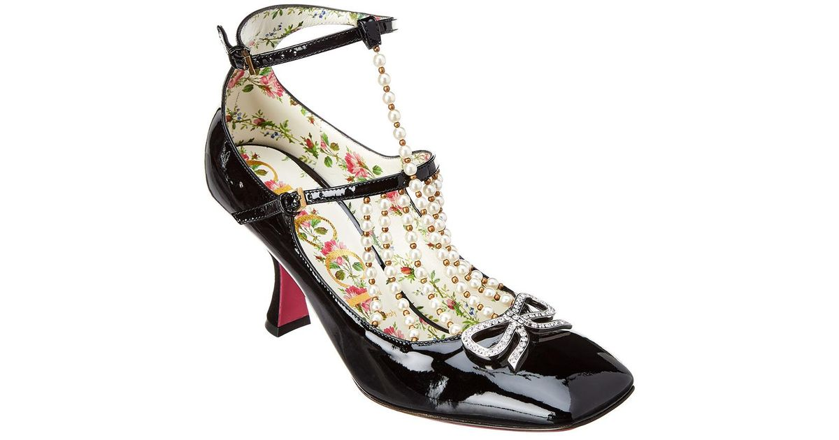 0087e4daf Lyst - Gucci Taide Couble Buckle Patent Pump in Black