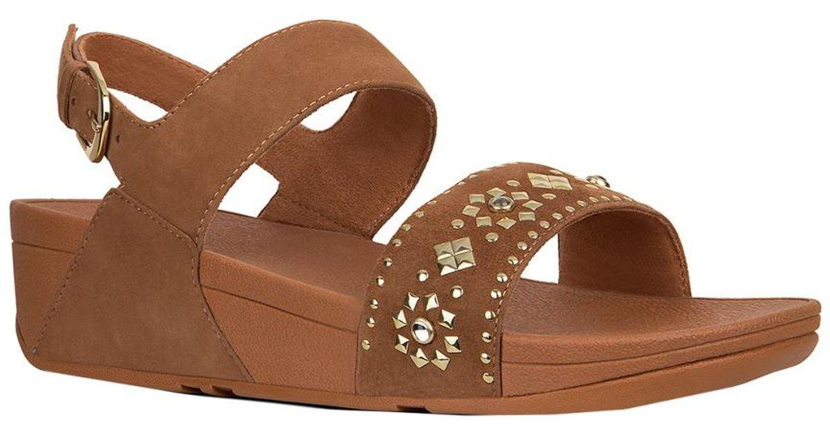 76af4c3894f1b Fitflop Lulu Aztek Stud Back Strap Sandal in Brown - Lyst