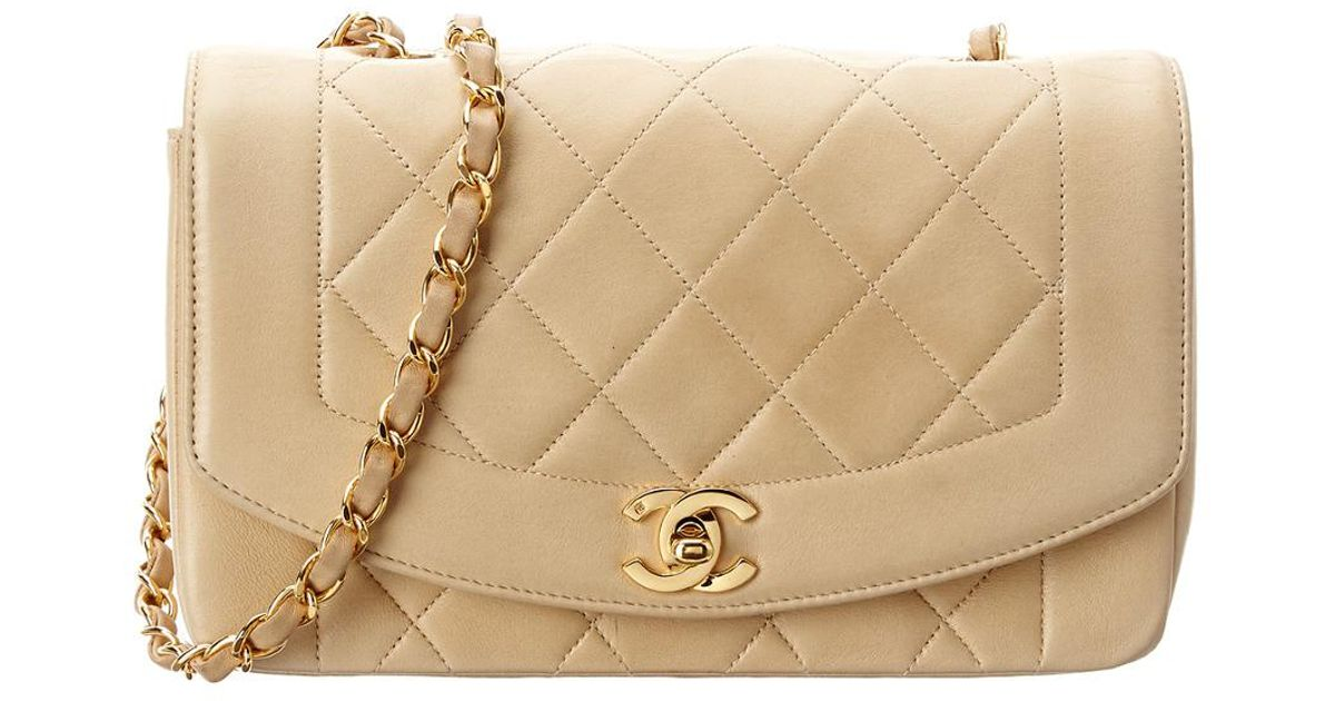 8598775a2e2e84 Chanel Beige Quilted Lambskin Diana Flap Bag in Natural - Lyst