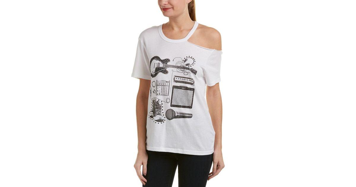 ade09e8e2ee5 Lyst - True Religion Asymmetrical Cold-shoulder T-shirt in White