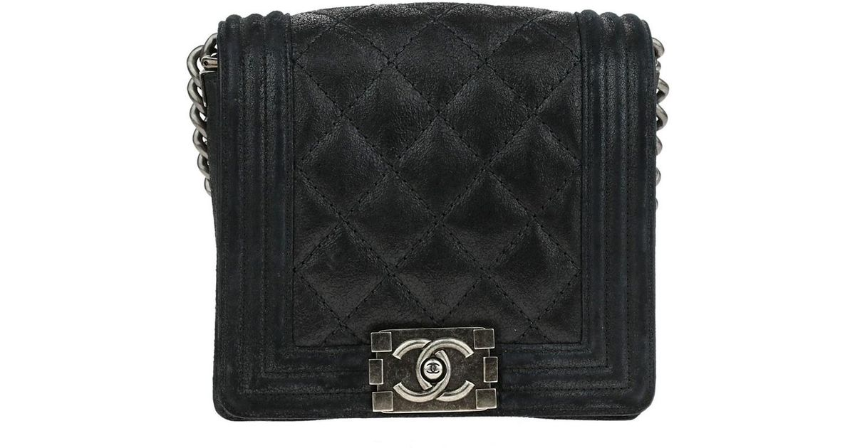 128b4d389fad Chanel Dark Navy Quilted Calfskin Small Gentle Square Boy Flap Bag - Lyst