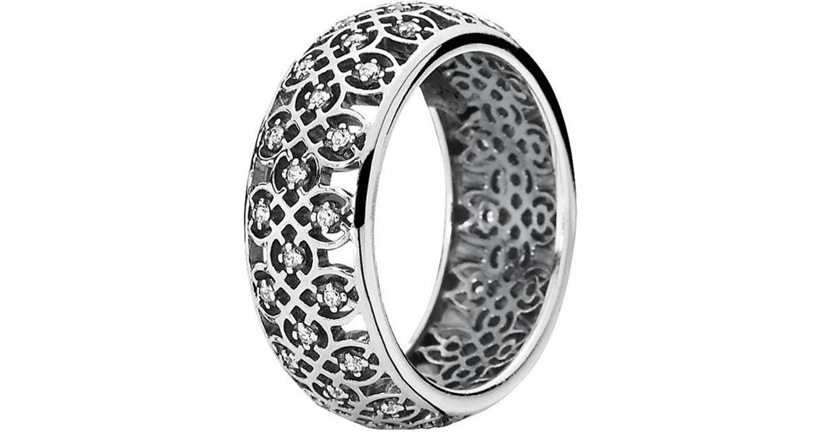 e01b91e86 PANDORA Silver Cz Lattice Ring in Metallic - Lyst