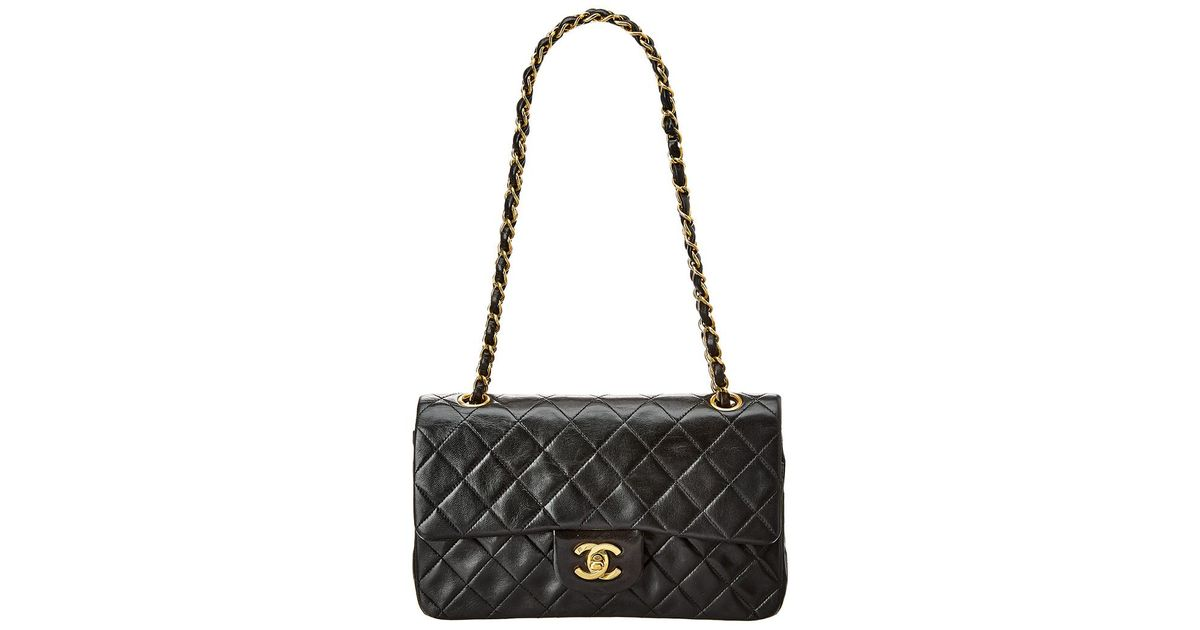 39807646030a Chanel Black Quilted Lambskin Leather Small Double Flap Bag in Black - Lyst