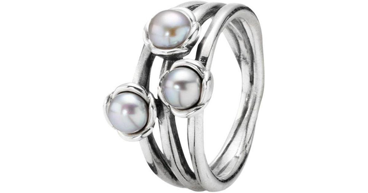 03911c517 PANDORA Triple Bloom Silver Pearl Three Wishes Ring in Metallic - Lyst