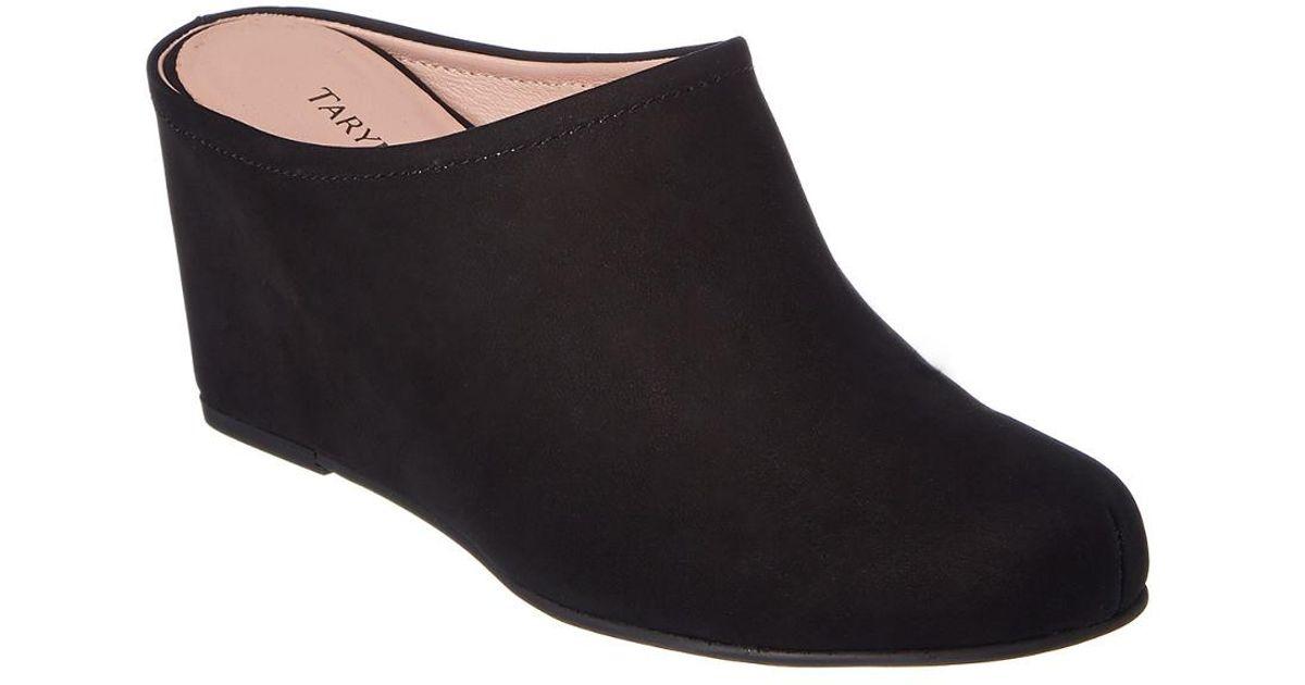 fa664c5d00de Lyst - Taryn Rose Boston Nubuck Wedge Mule in Black