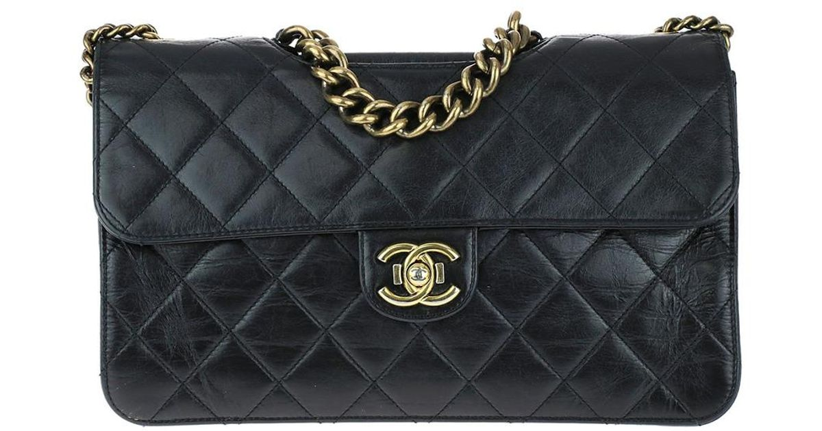 67dcedec9c11 Chanel Limited Edition Black Quilted Glazed Calfskin Leather Perfect Edge  Flap Bag in Black - Lyst