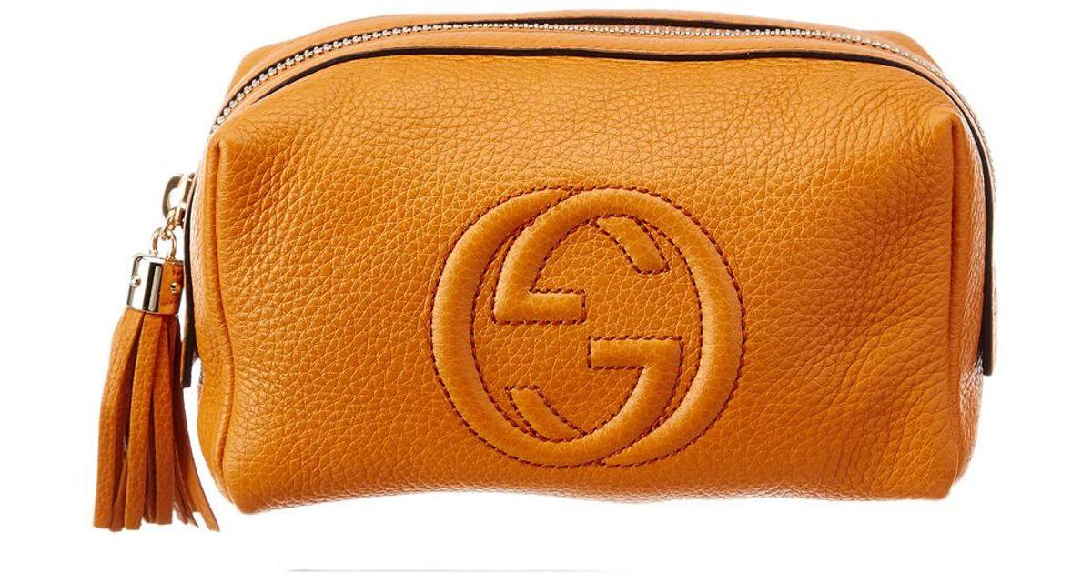 Lyst - Gucci Orange Leather Soho Cosmetic Case in Orange cf1d1d45e2625