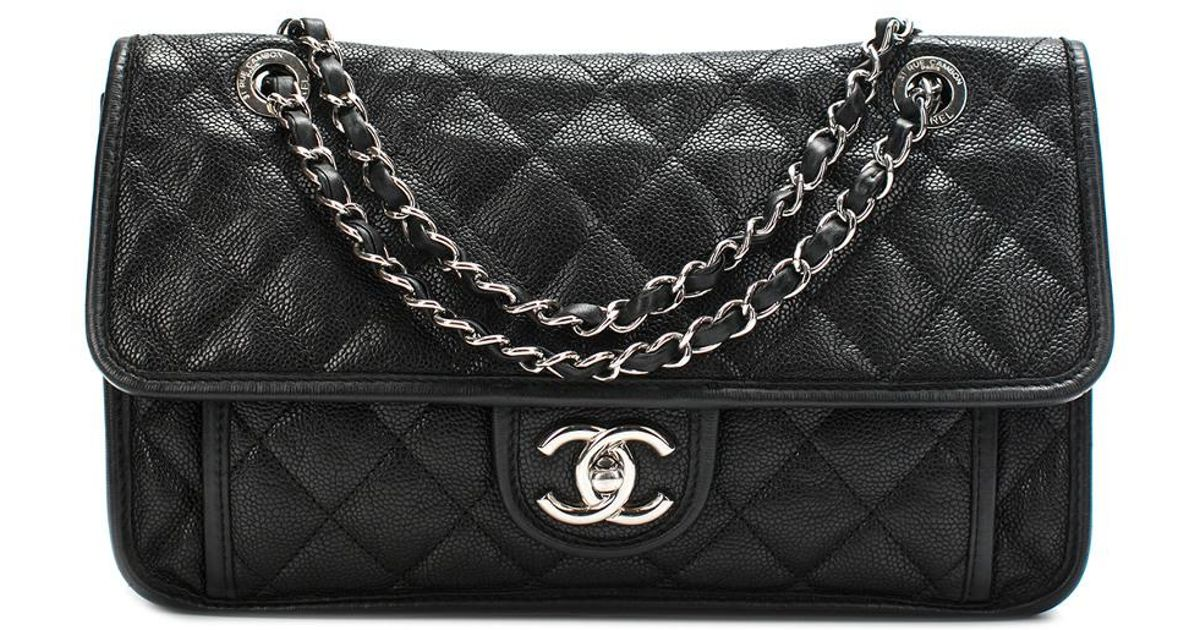 b61abba8610a Lyst - Chanel Black Quilted Caviar Leather French Riviera Medium Flap Bag  in Black