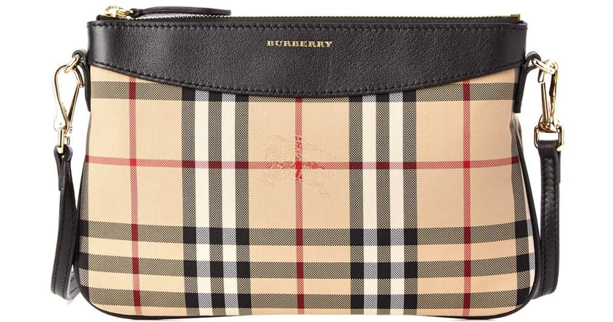 20a083130e6d Burberry Peyton Horseferry Check   Leather Clutch Bag in Black - Lyst