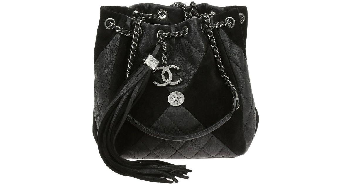 Lyst - Chanel Black Goatskin Suede Calfskin Cc Bundle Drawstring Bag in  Black 363f94462827d