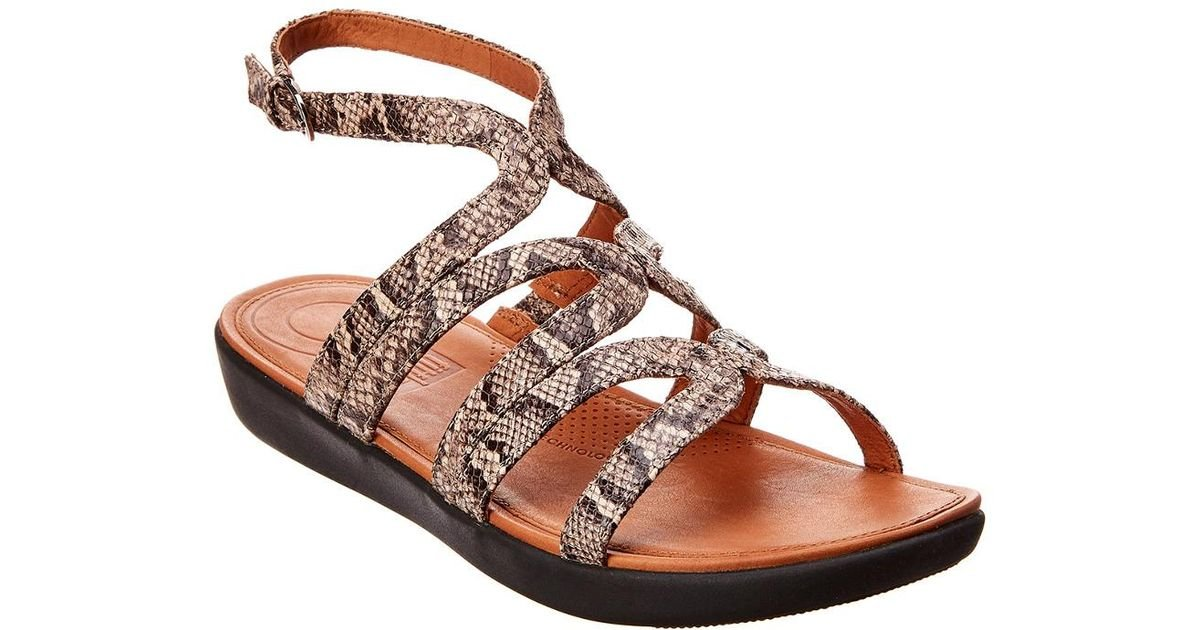 3340f4e201e Fitflop Strata Snake-print Leather Gladiator Sandals in Brown - Lyst