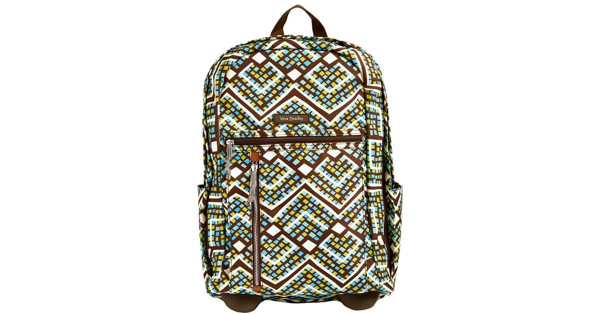 de26451f2eb4 Lyst - Vera Bradley Rain Forest Lighten Up Rolling Backpack in Green