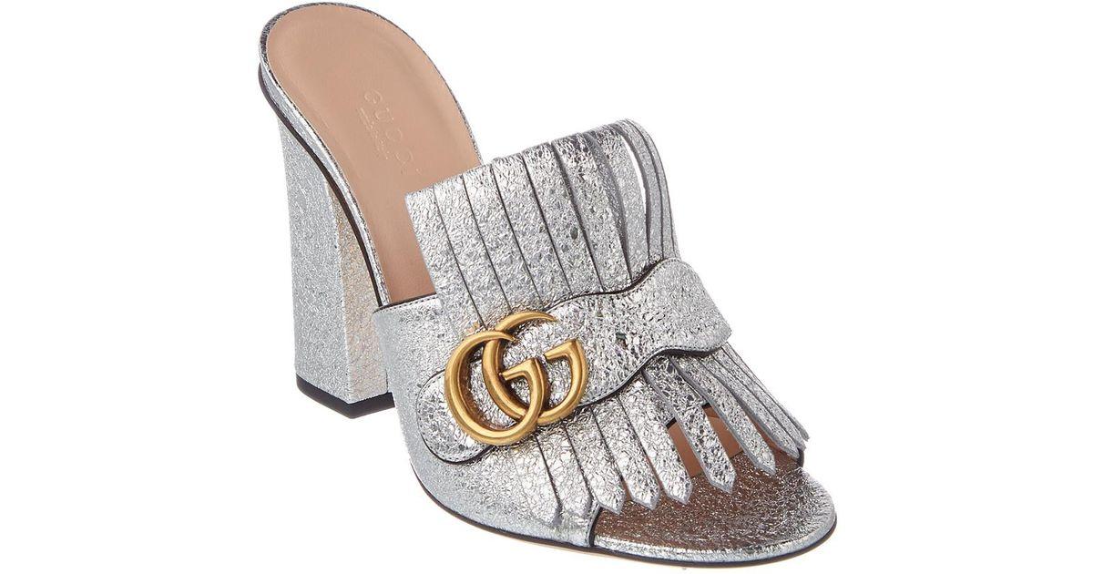 ff9734ef697 Lyst - Gucci Gg Marmont Metallic Leather Mule in Metallic