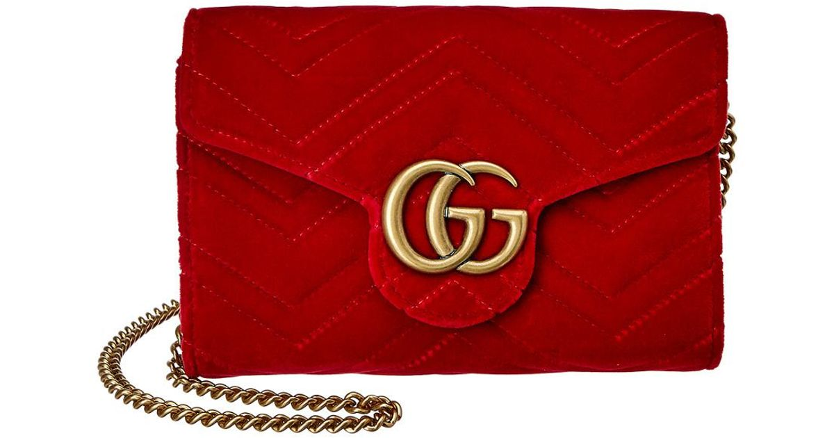 23bc1e77ef24 Gucci GG Marmont 2.0 Matelasse Velvet Wallet On Chain in Red - Lyst